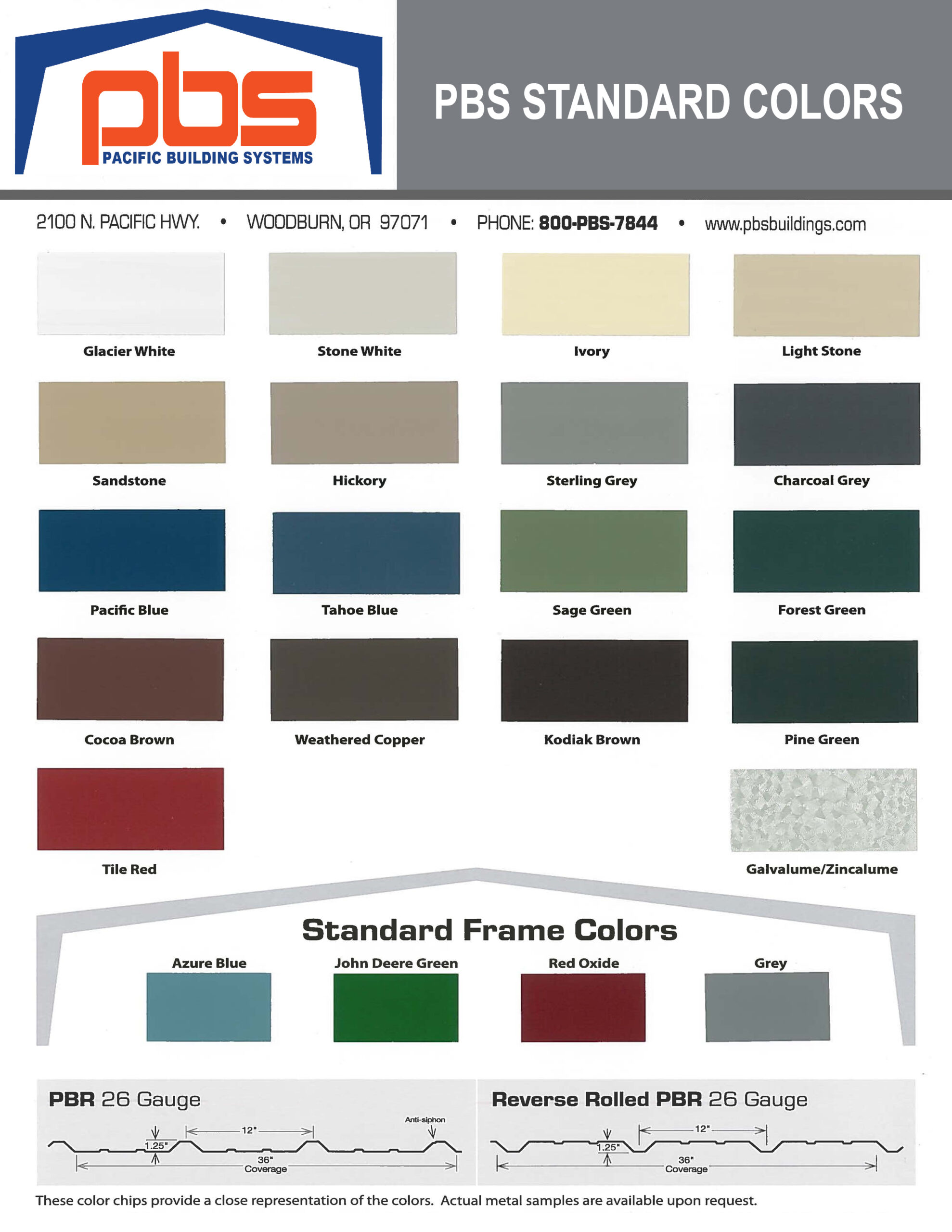 Standard Colors - Color Chart