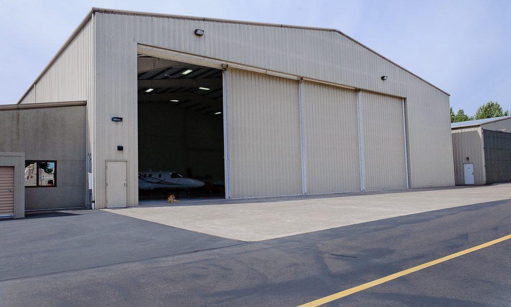 Hangar building door